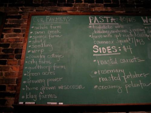 The menu's on the wall at Mado