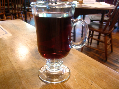 Hot cherry cider at Cream and Crepe Cafe