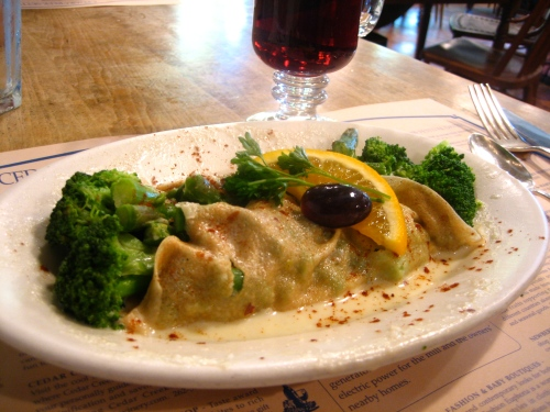 Broccoli and asparagus crepe with Swiss almond cream