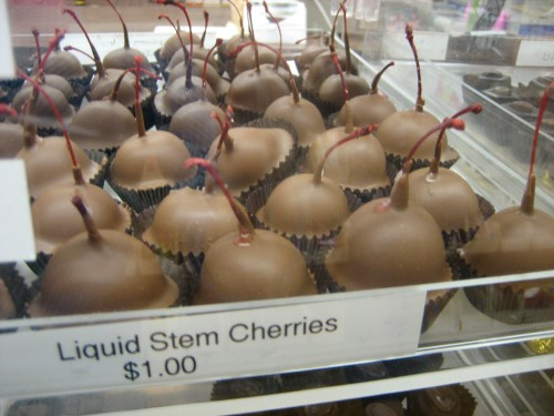 Chocolate covered cherries at a confectionary