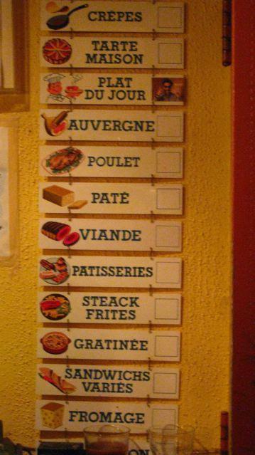 Not the menu, but a list of le best at Le Bouchon