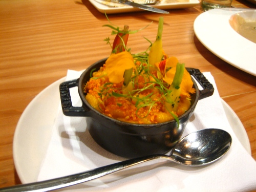 Carrot gnocchetti with tarragon and mimolette, spiced crumble of carrot pulp, almond and mace