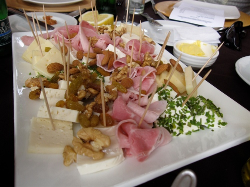A typical appetizer plate of cheeses, meats and nuts, Kuchen Haus, Santiago