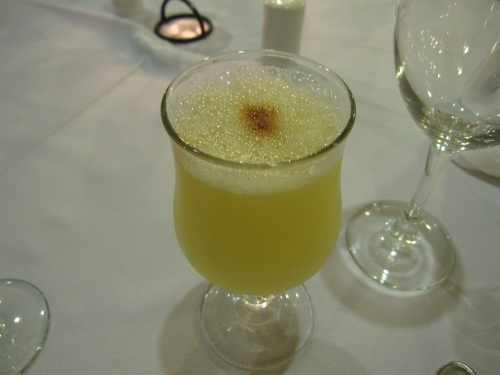 Traditional pisco sour at La Cocina de Javier, Santiago, Chile