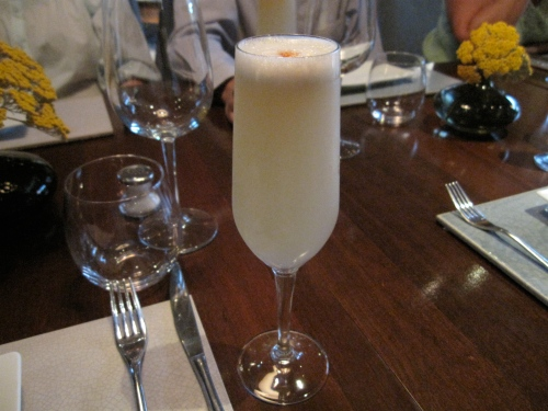 A Peruvian pisco sour at Cinefuegos, Santiago, Chile