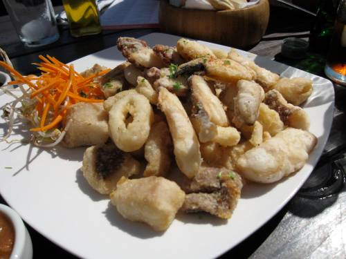 Another fried seafood appetizer platter with dipping sauces