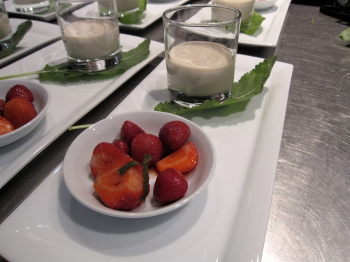 Lucuma (similar to fig) and carica floating island with berries, Chef Pilar Rodriguez, Santiago