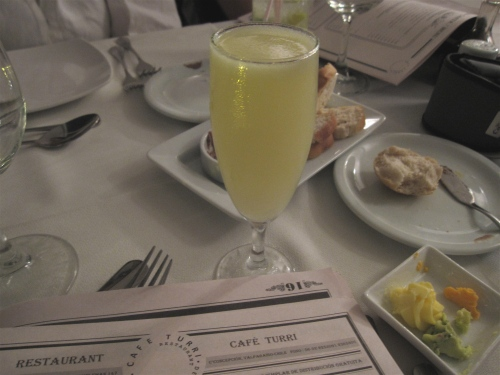 Pisco sour with green chiles at Cafe Turri, Valparaiso, Chile