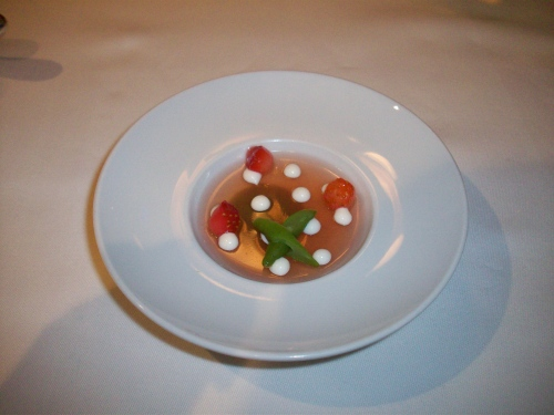 Strawberry tomato gelée with Parmesan and haricot verts