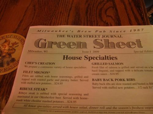 """The """"Green Sheet"""" menu"""
