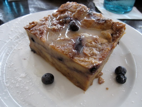 Apple and blueberry bread pudding