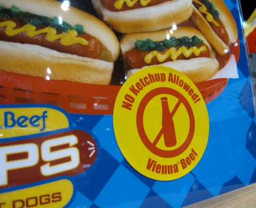 Mandatory sticker wearing before receiving mini Vienna beef dog
