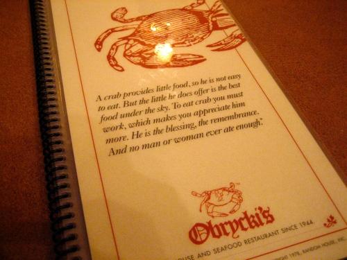 Obrycki's menu