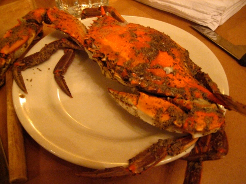 Hot steamed crab on a plate
