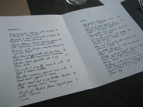 The hand-written menu changes daily at Nightwood