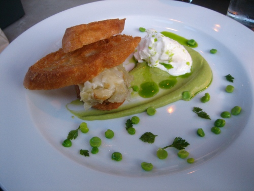 Burrata with lovage, roasted fennel and garlic toasts