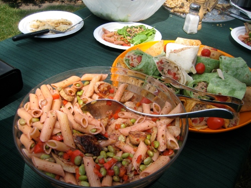 Soy lunch on the farm by Chef Terrie Kohl of Country Club Market; warm bean and arugula salad, soy pasta salad with edamam and tuna and bean wraps