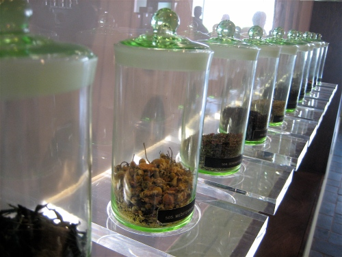 Teas on display at Gong Fu