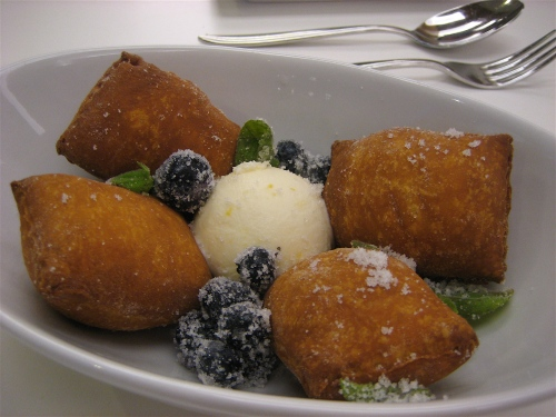 Blueberry fritters at Bluprint