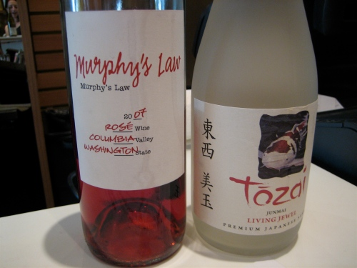 Murphy's Law rosé and Tozia Junmai Living Jewel sake