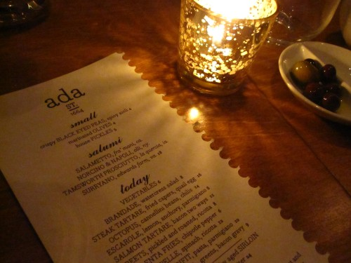 Ada Street menu